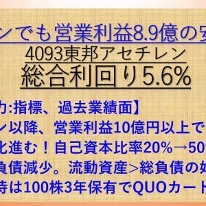 東邦アセチレン(4093) 配当+優待利回り5.6%【資産株149-①】