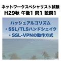 ハッシュアルゴリズム・SSL/TLSハンドシェイク・SSL-VPNの動作方式【ネットワークスペシャリスト試験 平成29年度 秋期 午後1 問1 設問1】