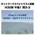 IPsecトンネル設定(NHRP、OSPFプライオリティ)【ネットワークスペシャリスト試験 平成30年度 秋期 午後1 問3-3 】