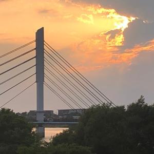 今日も楽しくポタリング  子吉川沿いを夕陽を眺めながら