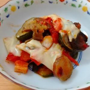 【休日クッキング】ズッキーニと茄子のトマトチーズ焼き