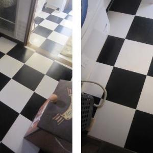 タイルの床磨き
