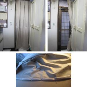 冷気対策のカーテン作り 脱衣室