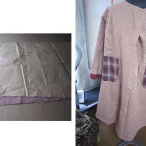 リメイクで ヨーク付き割烹着エプロンドレス作り 1 ピンク細かな格子布
