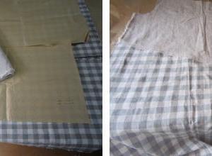 布を繋いで、半袖ワンピース制作 1 裁断