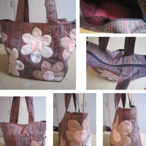 結城紬の残り布でトートバッグ制作