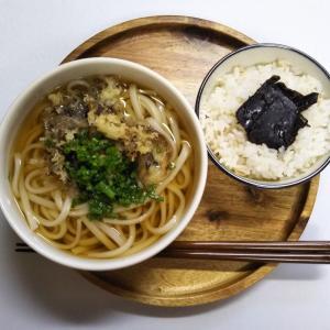 最高気温が4月下旬並みの14℃の土曜のお昼ごはんは舞茸の天ぷら入りうどん