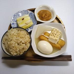 見切り品で作った残り物の味噌おでんで一汁一菜の朝ごはん