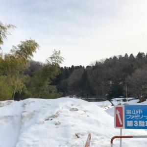 20210212雪の呉羽山丘陵城山:古墳の路・栃の木広場
