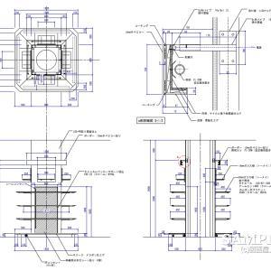 柱巻き造作図と照明ボーダーの詳細図