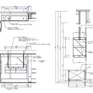 吊り式ディスプレー什器の作図事例