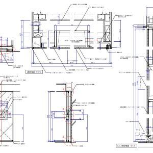 モニター埋設のミラー建具の詳細図事例
