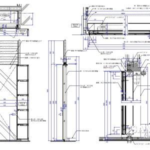 ピボットヒンジを使用したミラー貼り建具図の作図事例