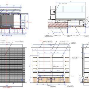 タイル貼り柱巻造作と外観図と各断面図