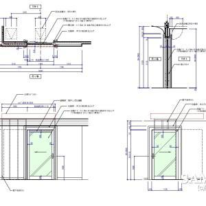 ガラスFIXの自動ドアの外観図を部分詳細図