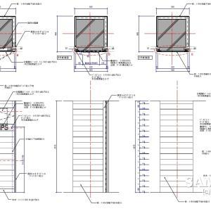 分電盤メンテ用スチールドアと象嵌サインが絡む柱図の作図事例