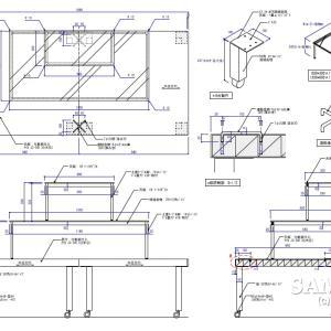 分割式オープンテーブルの姿図と断面図