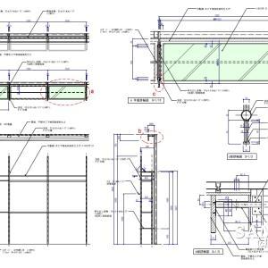 パイプ組みで構成された壁面システム什器の実施図事例