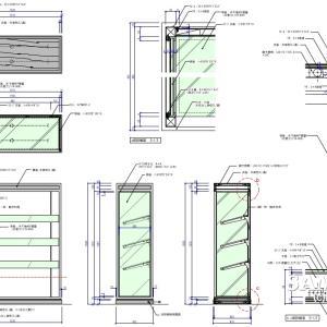 片面システム什器の姿図と断面図