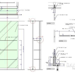 柱前に設置したショーウインドーの作図事例
