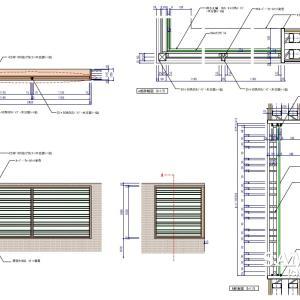 汎用性のある格子窓の姿図と詳細図