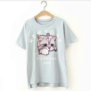 猫柄のTシャツ (レディ―ス・ユニセックス)