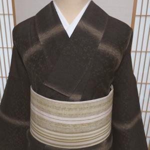 森英恵のモダン小紋×小地谷紬のストライプ洒落袋帯