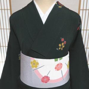 綺麗なディープグリーンに可愛い絞りの花付下げ×手描き友禅の名古屋帯