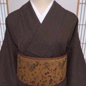こげ茶色金通し織りの色無地×お正月や初釜に 宝尽くしの袋帯