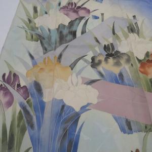 極上のアンティーク夏着物 百合の透かしに菖蒲柄×見事な総手刺繍の虫籠にコオロギ