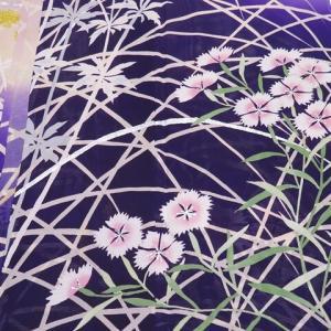 アンティーク夏の振袖 華やかな女郎花と撫子×カラフルな撫子萩桔梗 アンティーク帯