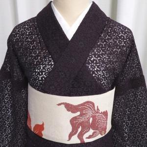 昭和レトロの素敵なレースの着物×尾びれが華やかな金魚柄のアンティーク帯