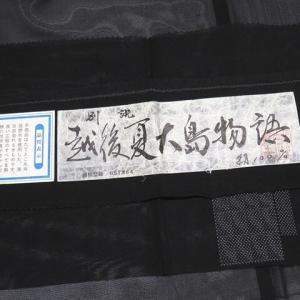 越後夏大島証紙付 粋でハイセンスな大島紬と涼やかなつゆ草柄の名古屋帯