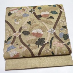 高貴な紫地 野の花の手刺繍付下げ×明綴れ 上品で華やかなお太鼓柄袋帯