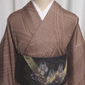 川村久太郎 付下げ柄の牛首紬×しょうざん謹製 おとぼけ兎が愛らしい洒落袋帯