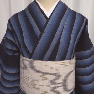 銀座世きね扱い『竺仙』爽やかな浴衣×イカット柄の作り帯