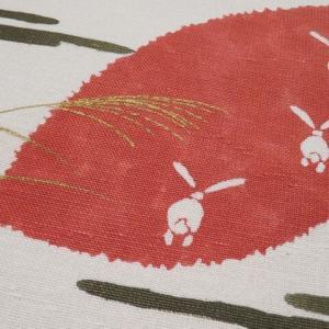 単衣 本場結城紬 よろけに亀甲や蚊絣柄×赤い月に兎 風流でお洒落