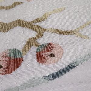 灰紫色 アラベスク文様の変わり織り小紋×枇杷の織り柄の名古屋帯