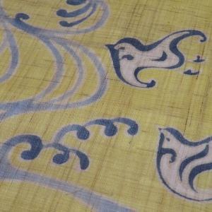 薄グレー 爽やかな青いラインの紗紬×本麻 観世水に千鳥が愛らしい名古屋帯