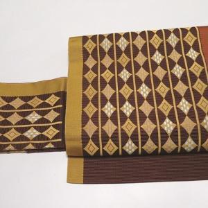 新品♪長井紬の証紙付 カジュアルなお洒落紬×黄八丈風 織りの名古屋帯
