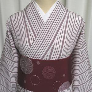 子持ち縞の爽やかでお洒落な小紋×草間彌生さん風のデザインが素敵な名古屋帯