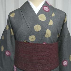 渋可愛い風合いの良い紬×海老茶色に多色の糸が織られた単衣の八寸帯