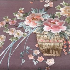 薄っすらグレー地に上品で愛らしい小紋×美しい日本刺繍の作り帯