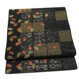 市松の織りにシックな桜柄 高級紬などに モダンな洒落袋帯