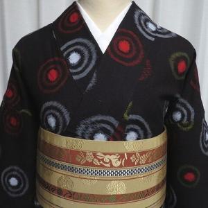 二重丸の様な絣柄が可愛い木綿着物×うろこ文に花うさぎ柄の可半幅帯