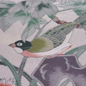 辻が花のシックな訪問着柄紬×牡丹と可憐な撫子に鶯 袋帯