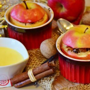 《りんご丸ごと1個》焼きリンゴ風ケーキのレシピ《HMでお手軽》