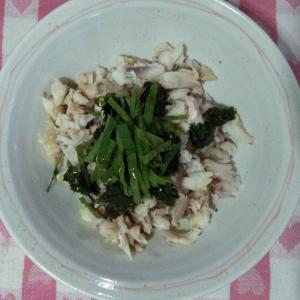 真鯛のカマのそぼろ丼&船長さんのお料理&サツマイモの葉と茎