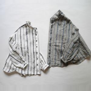 *リネン先染めヴィンテージストライプバンドカラ−シャツ No.1917570