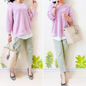 【UNIQLO】自粛中の今だから着たい桜色ニット/簡単にオシャレ見えする「シフォン」つけ裾♪